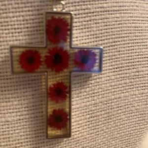 Jewelry - Glass cross necklace teal dried flowers statement